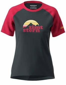 Zimtstern Damen Sunsetz Tee WMNS T-Shirt, Pirate Black/Jester Red, XL - 1