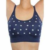 ALBERO Damen Bustier Bio-Baumwolle/Elasthan, Dunkelblau mit weißen Sternen, Gr. XL - 1